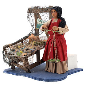 Moving fisher woman with scale for Neapolitan nativity scene s3