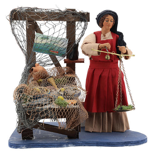 Moving fisher woman with scale for Neapolitan nativity scene 1
