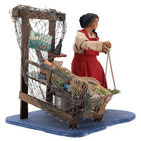 Moving fisher woman with scale for Neapolitan nativity scene s4