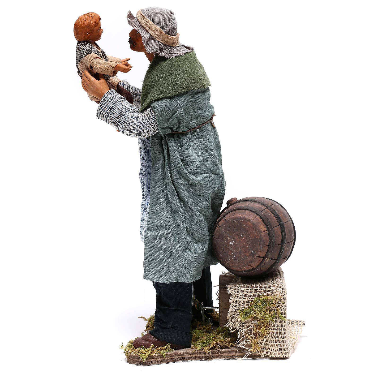 Man lifting child 24 cm for Neapolitan nativity scene 4