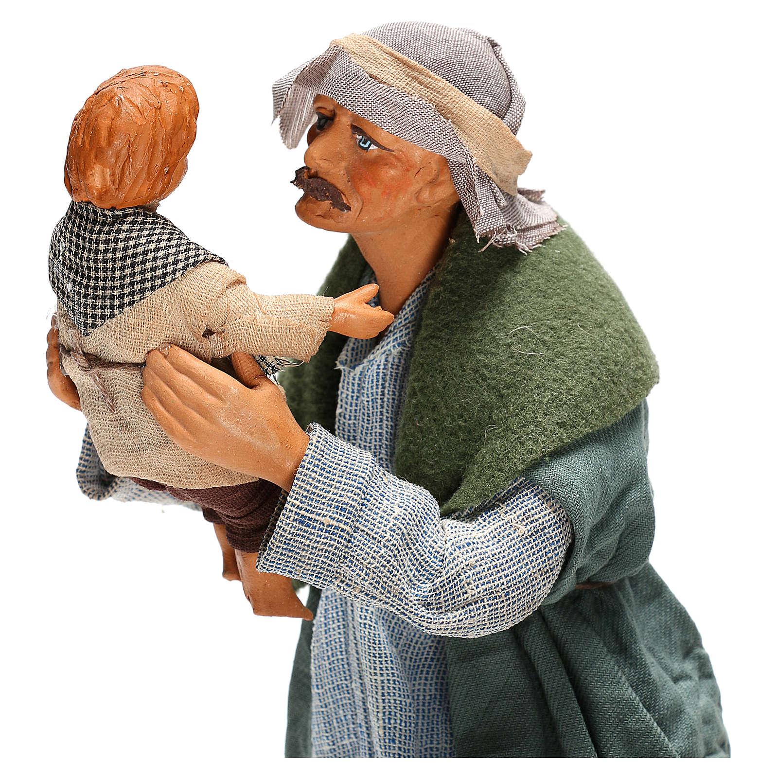 Hombre con niño Belén Napolitano 24 cm 4