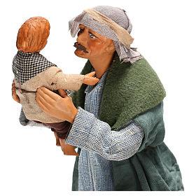 Hombre con niño Belén Napolitano 24 cm s2