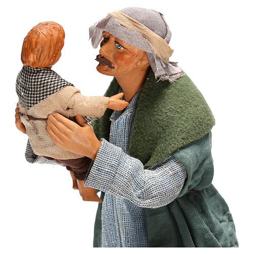 Hombre con niño Belén Napolitano 24 cm 2
