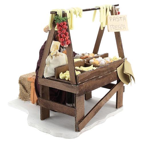 Escena en movimiento vendedora pasta fresca pesebre napolitano 24 cm 4