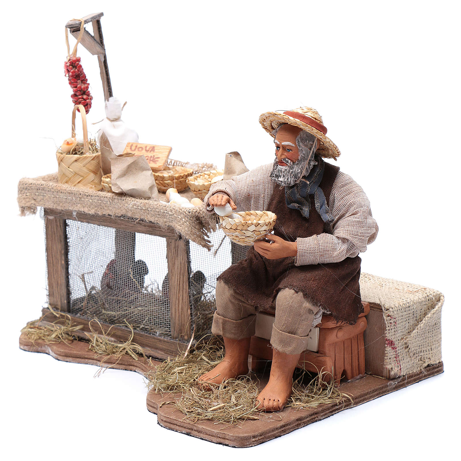 Egg seller sitting with movement 24 cm for Neapolitan nativity scene 4