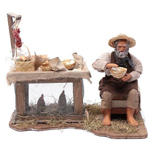 Egg seller sitting with movement 24 cm for Neapolitan nativity scene 1