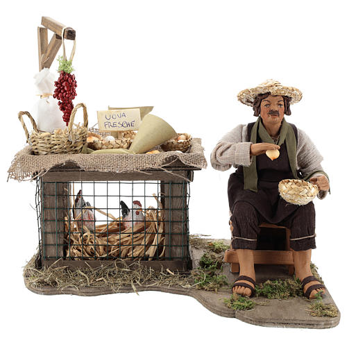 Egg seller sitting with movement 24 cm for Neapolitan nativity scene 5