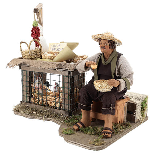 Egg seller sitting with movement 24 cm for Neapolitan nativity scene 7