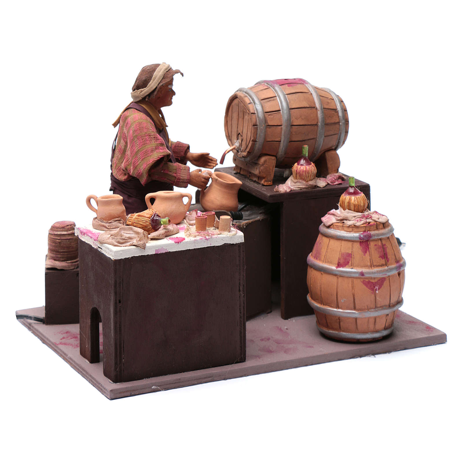 Comerciante de vino con barriles 24 cm pesebre Nápoles 4
