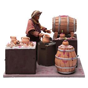 Comerciante de vino con barriles 24 cm pesebre Nápoles s1