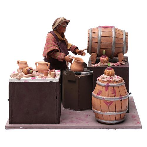 Comerciante de vino con barriles 24 cm pesebre Nápoles 1
