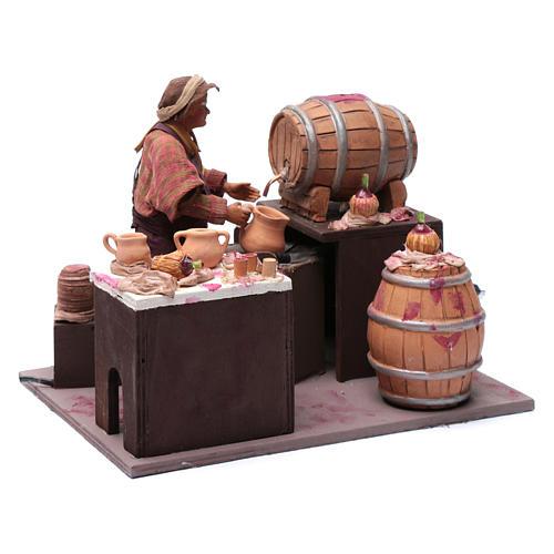 Comerciante de vino con barriles 24 cm pesebre Nápoles 3