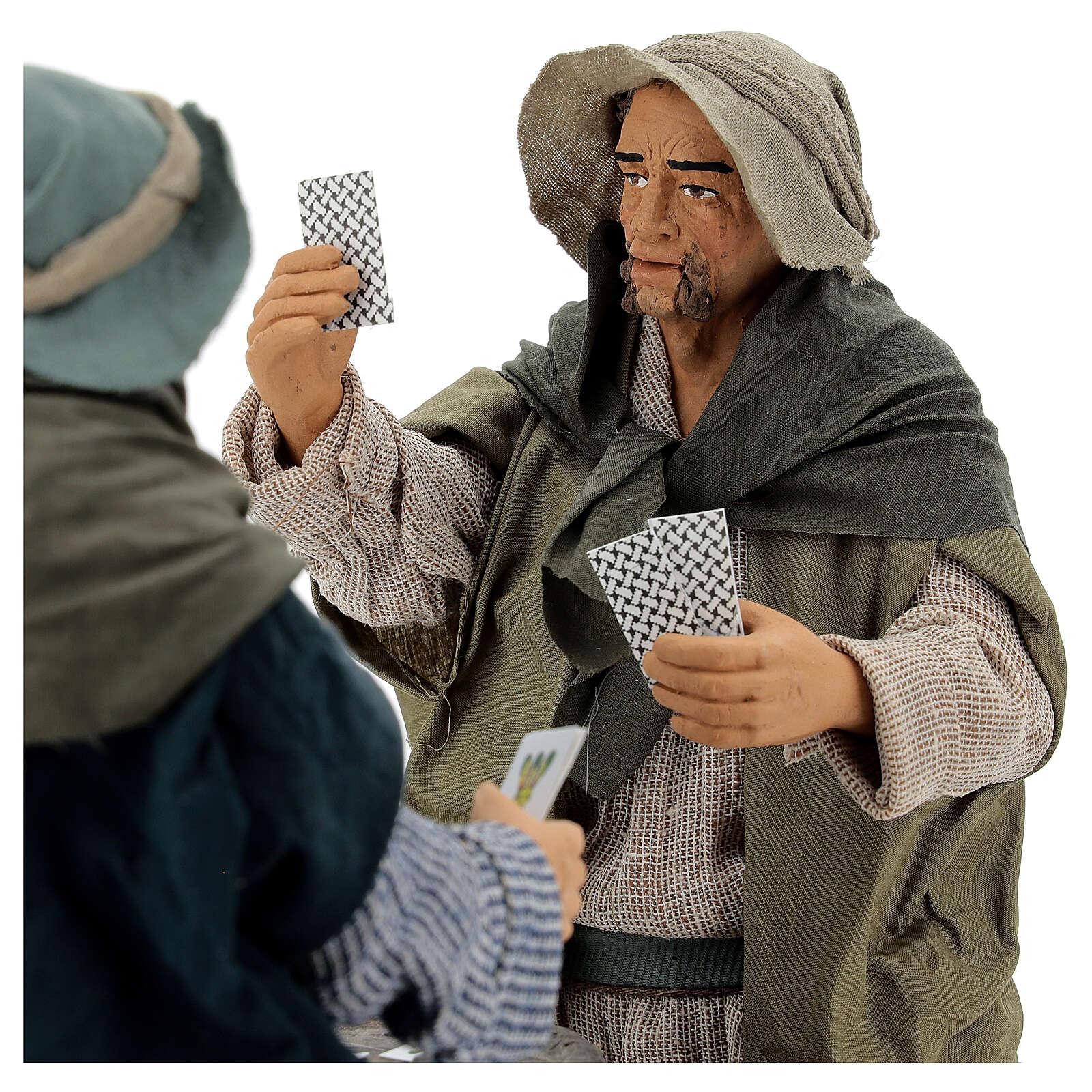 Jogadores de cartas em pé movimento para presépio napolitano figuras altura média 30 cm 4