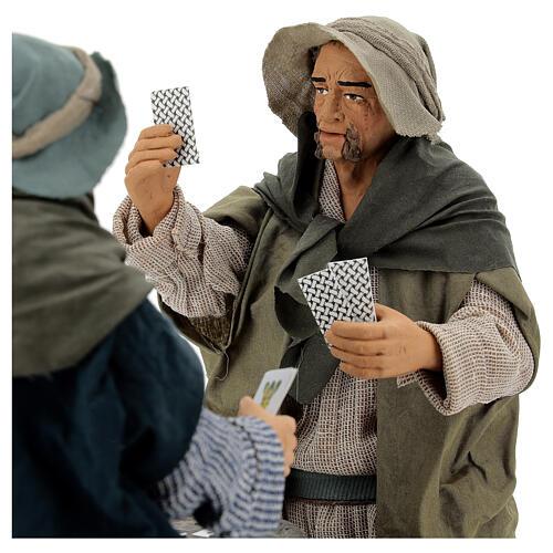 Jogadores de cartas em pé movimento para presépio napolitano figuras altura média 30 cm