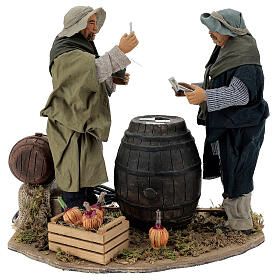 Neapolitan Nativity Scene: Standing Card Players with movement 30 cm Neapolitan Nativity