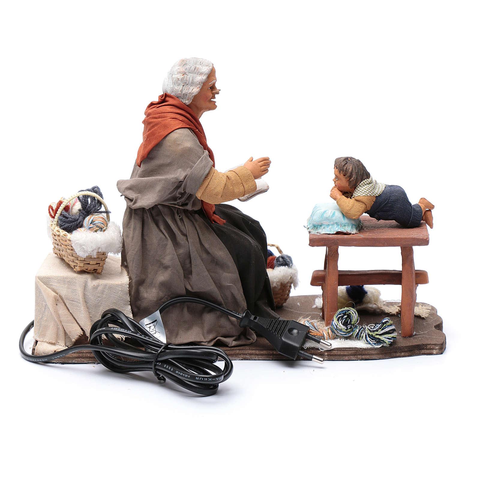 Nonna racconta storie movimento 30 cm presepe Napoli 4