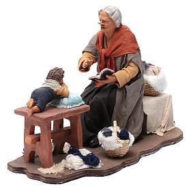 Nonna racconta storie movimento 30 cm presepe Napoli s2
