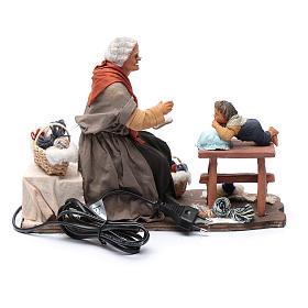 Nonna racconta storie movimento 30 cm presepe Napoli s4
