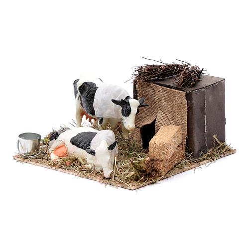 Neapolitan nativity scene moving cows with hay bale 12 cm 2