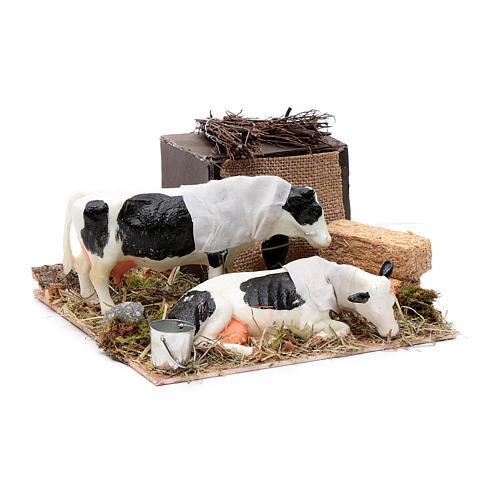 Neapolitan nativity scene moving cows with hay bale 12 cm 3