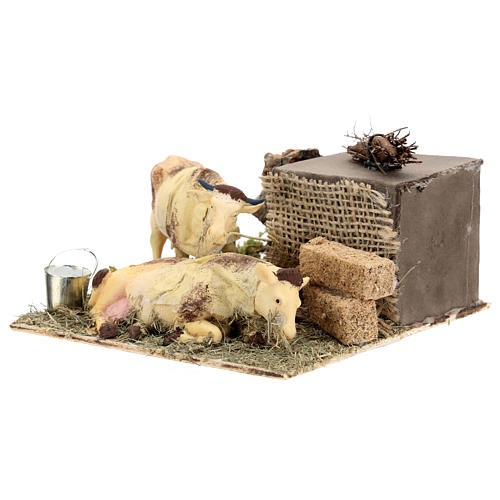 Neapolitan nativity scene moving cows with hay bale 12 cm 6