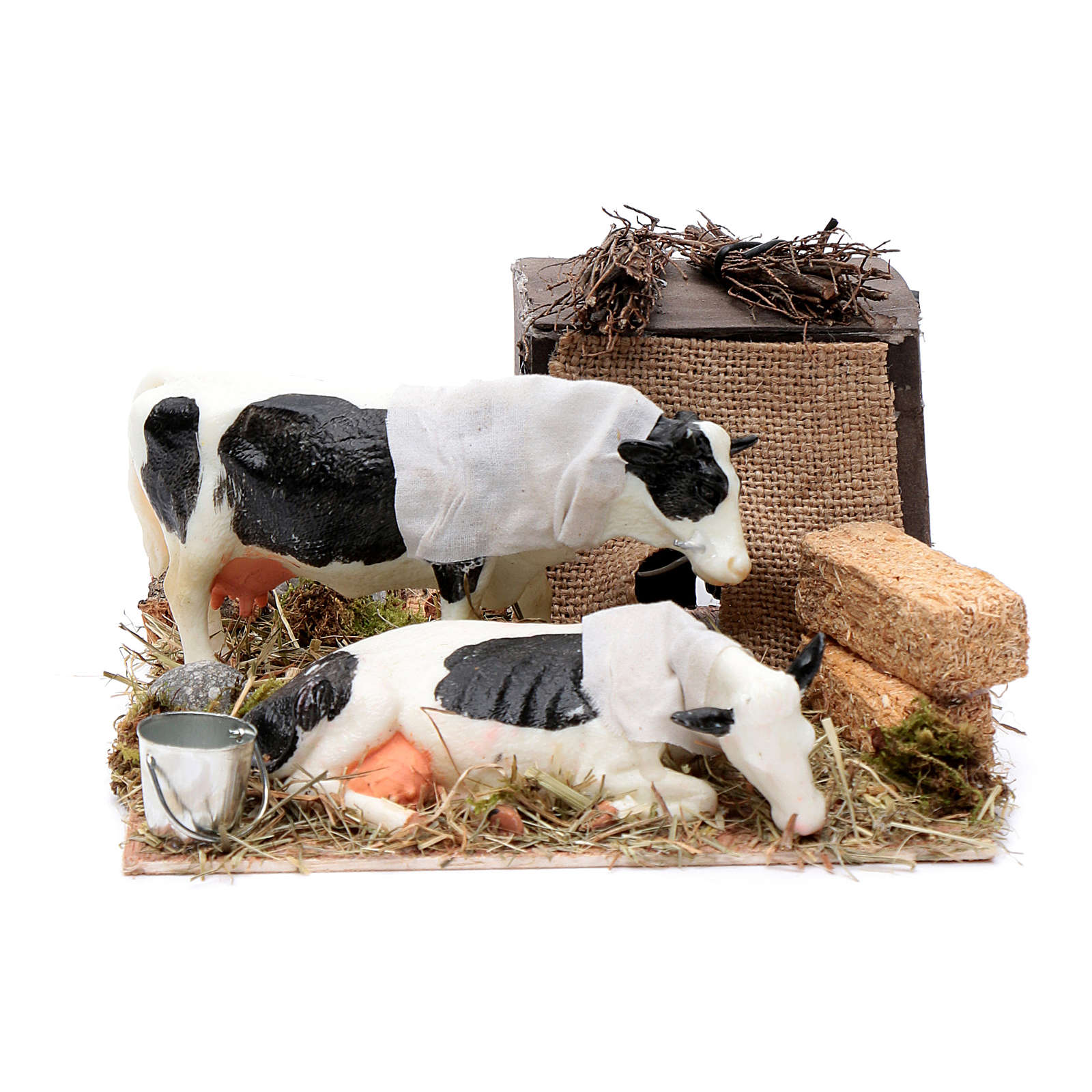 Neapolitan nativity scene moving cows with hay bale 12 cm 4