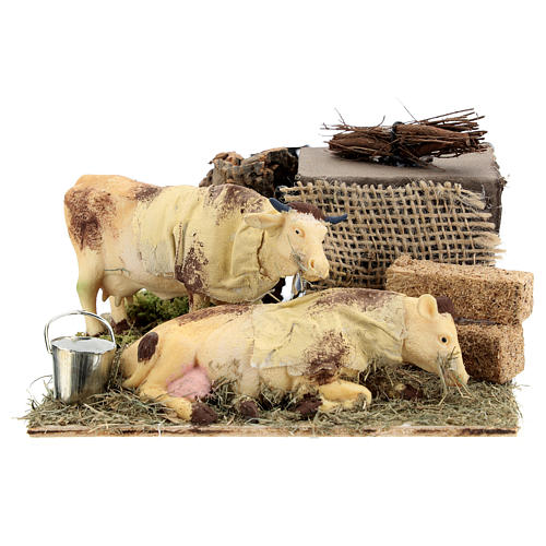 Neapolitan nativity scene moving cows with hay bale 12 cm 5