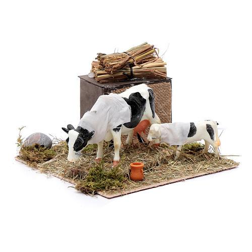 Mucca in movimento con cucciolo presepe di Napoli 12 cm 3