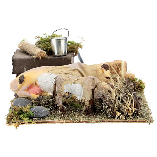 Neapolitan nativity scene cow and calf with trough in movement 12 cm 5