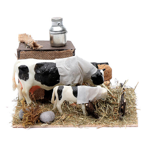 Vaca y cordero con comedero movimiento Belén Napolitano 12 cm 1