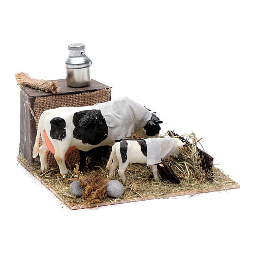 Vaca y cordero con comedero movimiento Belén Napolitano 12 cm 3