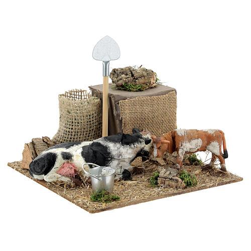 Vache avec veau en mouvement crèche de Naples 10 cm 8