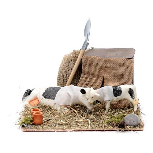 Mucca e cucciolo in movimento presepe di Napoli 10 cm 1