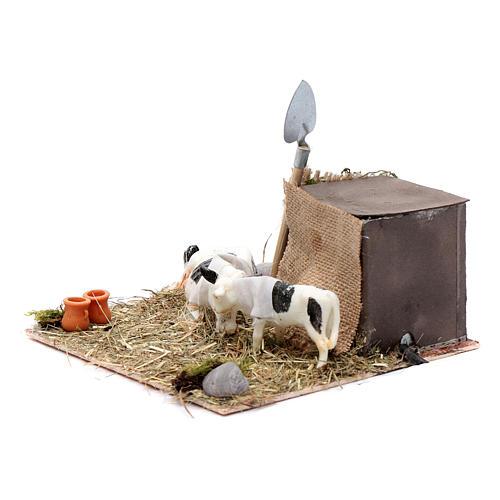 Vaca e vitelo com movimento presépio de Nápoles 10 cm 2