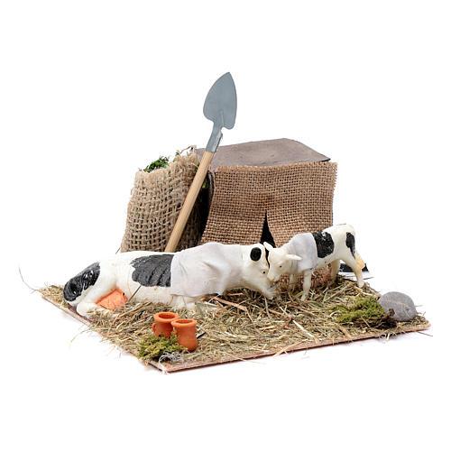 Vaca e vitelo com movimento presépio de Nápoles 10 cm 3