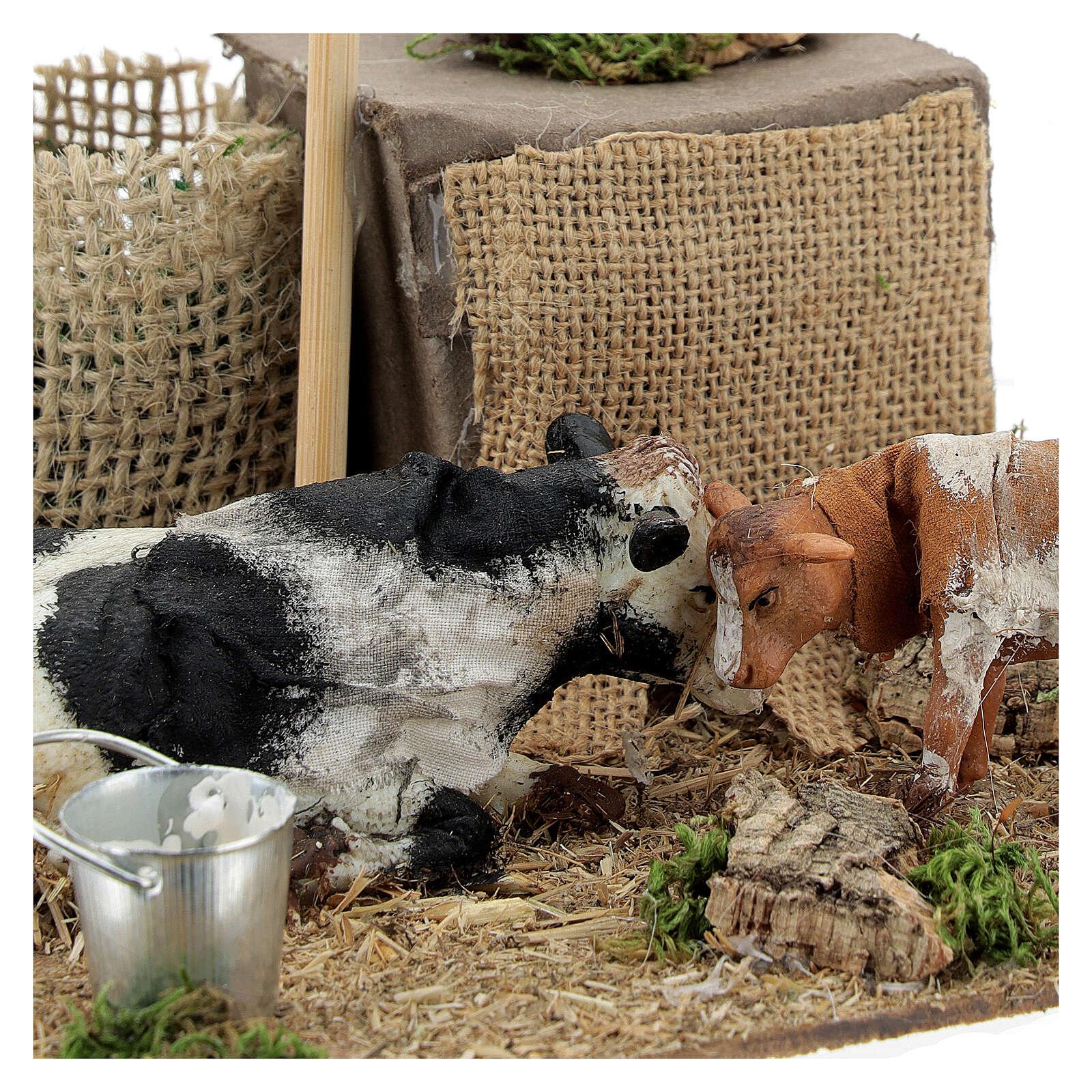 Neapolitan nativity scene cow and calf in movement 10 cm 4