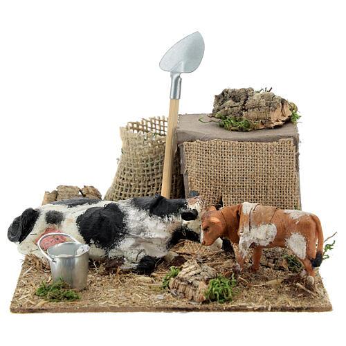Neapolitan nativity scene cow and calf in movement 10 cm 5