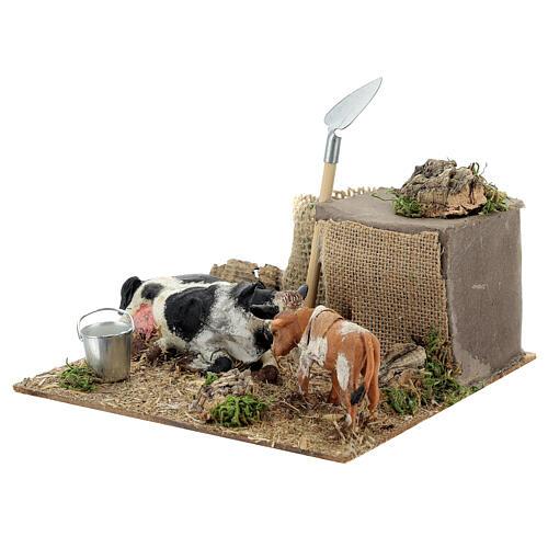 Neapolitan nativity scene cow and calf in movement 10 cm 7