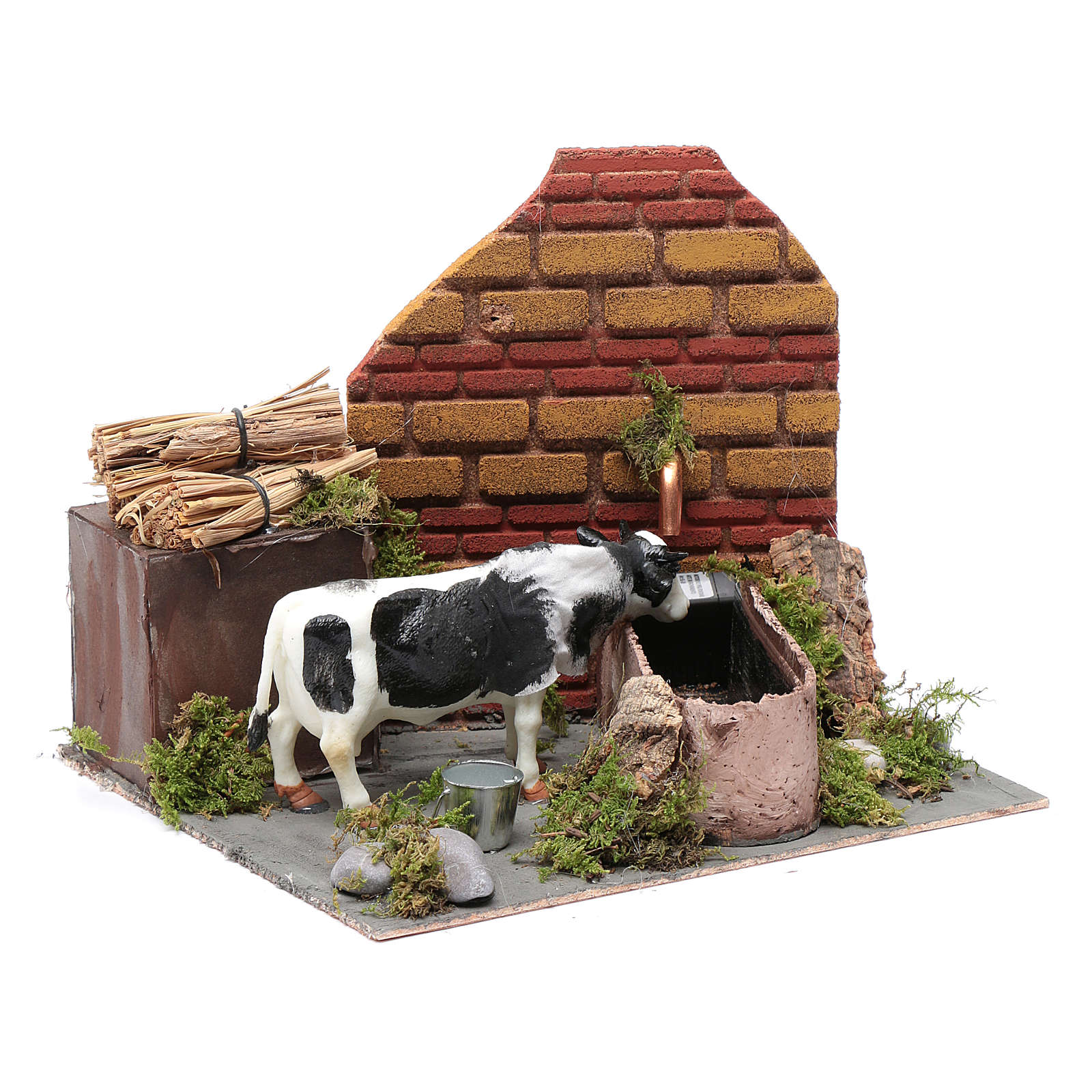 Neapolitan nativity scene moving cow with fountain and pump 12 cm 4