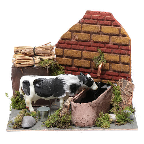 Neapolitan nativity scene moving cow with fountain and pump 12 cm 1