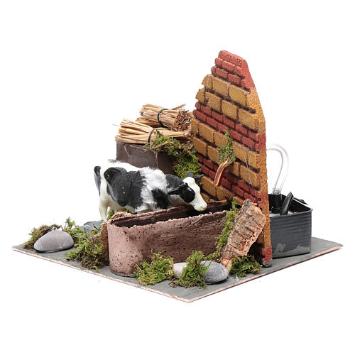 Neapolitan nativity scene moving cow with fountain and pump 12 cm 2
