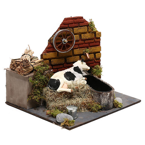 Neapolitan nativity scene moving cow with fountain and pump 12 cm 3