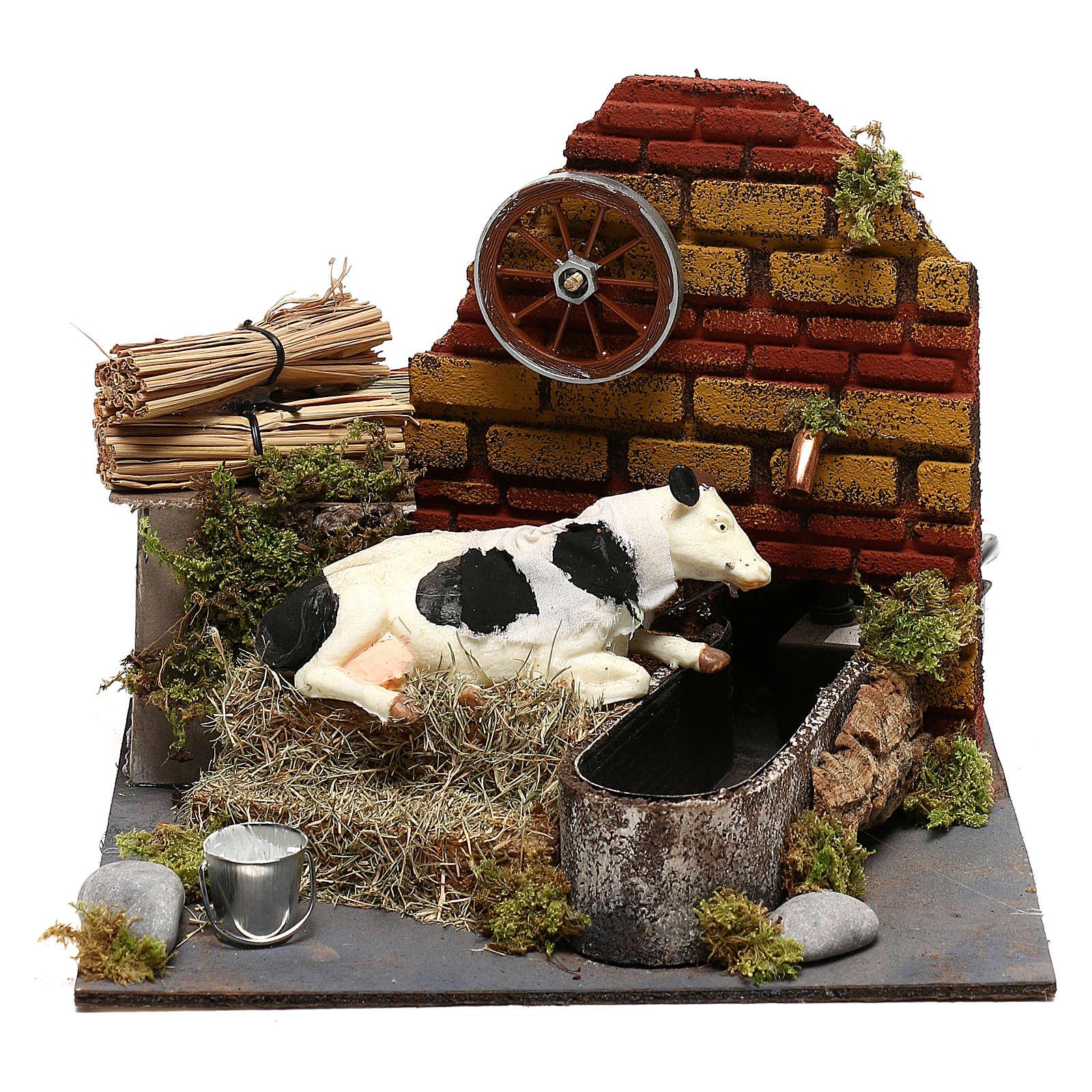 Vaca com movimento fontanário com bomba presépio de Nápoles 12 cm 4
