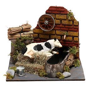Vaca com movimento fontanário com bomba presépio de Nápoles 12 cm s1