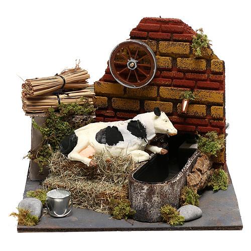 Vaca com movimento fontanário com bomba presépio de Nápoles 12 cm 1