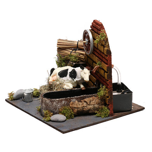 Vaca com movimento fontanário com bomba presépio de Nápoles 12 cm 2
