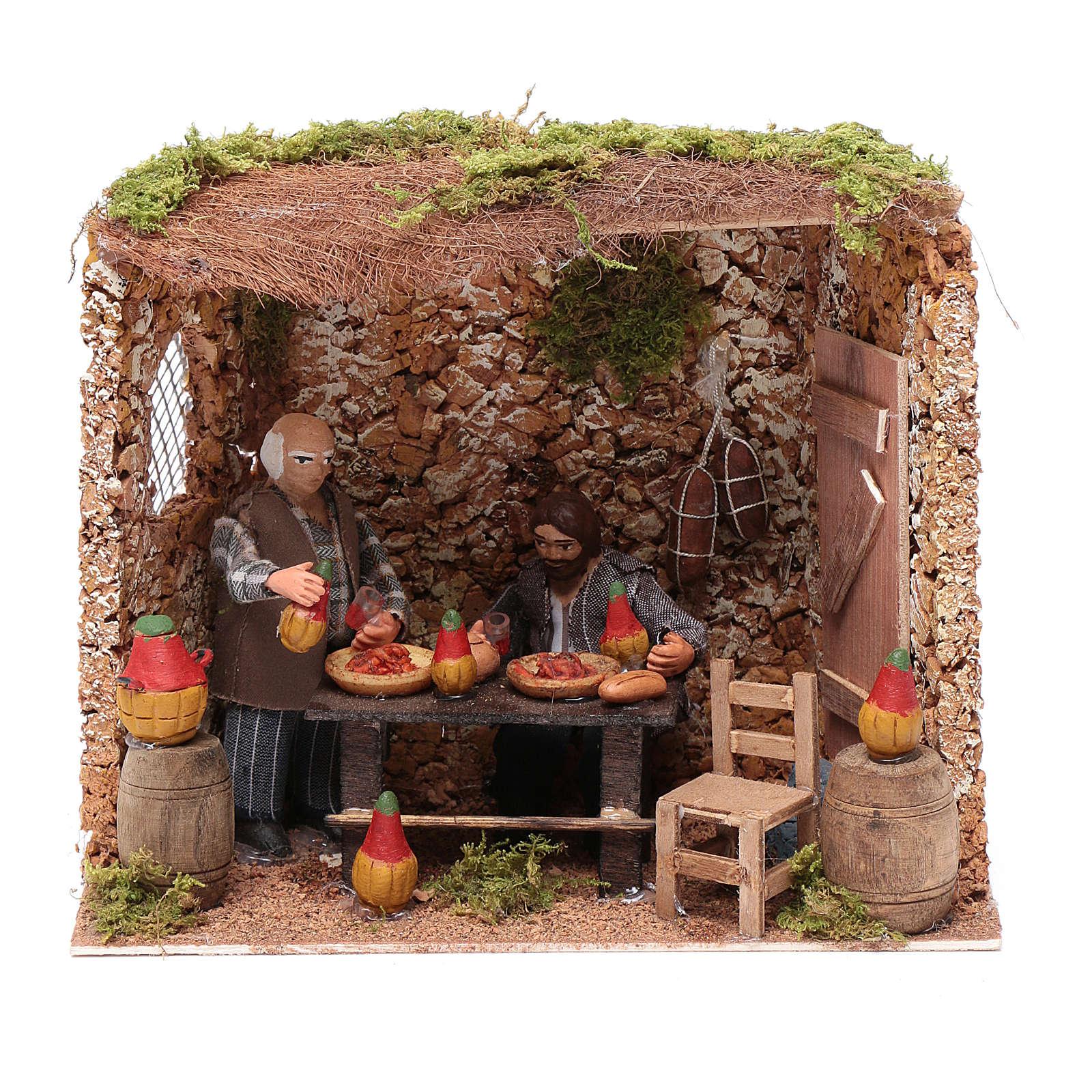 Neapolitan nativity scene moving couple in inn 12 cm 4
