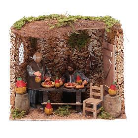 Neapolitan nativity scene moving couple in inn 12 cm s1