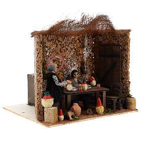 Neapolitan nativity scene moving couple in inn 12 cm s3