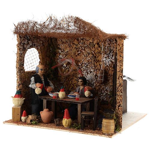 Neapolitan nativity scene moving couple in inn 12 cm 2